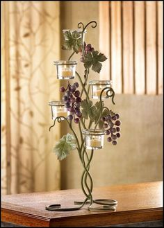 Italian Themed Plum and Teal Wedding Decor :  wedding Grape Candle Holders