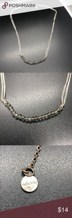Stella & Dot silver and Swarovski necklace Stella & Dot necklace, silver with grey Swarovski crystals. Worn only a few times but needs a good polish. Stella & Dot Jewelry Necklaces