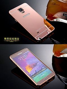 Samsung Note 4 Case,Ultra-thin Luxury Aluminum Metal Mirror PC Back Case Cover for Samsung Galaxy Note 4 N910 (Rose gold)