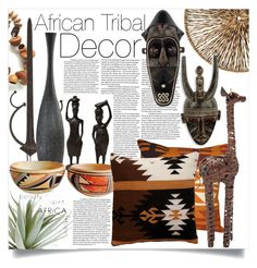 """African Tribal Decor"" by ailav9 ❤ liked on Polyvore featuring interior, interiors, interior design, home, home decor, interior decorating, Cyan Design, Allstate Floral, Palecek and NOVICA"