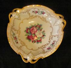 Rosenthal Hand Painted Porcelain Gold Goat Rams Head Large Serving Bowl Roses
