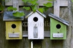 Rustic birdhouses on old weathered wooden fence