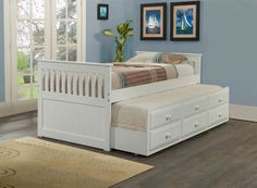 Twin Mission Captain's Trundle Bed (white)