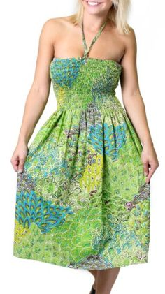 One-size-fits-most Tube Dress/Coverup with Peacock Print (many colors)