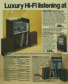 Page from Dixons catalogue (1980s) featuring Hi-Fi Tower Systems from Sentra, Amstrad and Fisher.