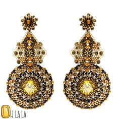 Earrings with Yellow Zircon and Gold Fill Beaded by OhlalaJewelry