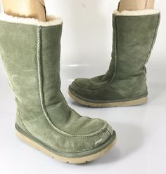 UGG Australia Womens 6 US 37EU Downtown 5210 Green Shearling Lined Suede Boots  #UGGAustralia #SnowWinterBoots #Casual