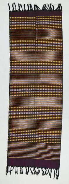 Africa | Shoulder cloth ~ Akwete ~ from the Igbo people of Nigeria | ca. mid to late 20th century | Cotton, rayon
