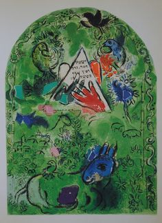 Tribe of Issachar. Marc Chagall: The Jerusalem Windows (1962) Issachar is a strong donkey, lying down between the sheepfolds; he saw that a resting place was good, and that the land was pleasant; so he bowed his shoulder to the burden, and became a slave at forced labour. (Gen. 49:14-15)