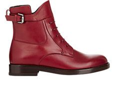 Leather Buckle-Strap Boots