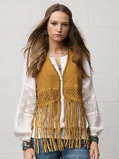 Fringed Suede Vest - Jackets  Women - RalphLauren.com