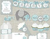 "PDF Baby Shower Banner & Sign Set - Boy Elephant ""Baby of Mine"" Shower - printable PDFs - just print. cut. and party. $4.00, via Etsy."