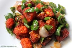 Speciality Recipes From Mye Kitchen.: Chilli Paneer/ Chilly Paneer Dry.