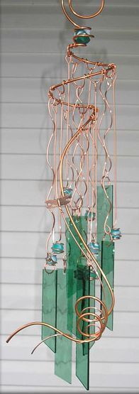 Copper tubing and stained glass windchime Stained Glass Projects, Stained Glass Art, Fused Glass, Make Wind Chimes, Glass Wind Chimes, Mobiles, Blowin' In The Wind, Copper Tubing, Tiffany Glass