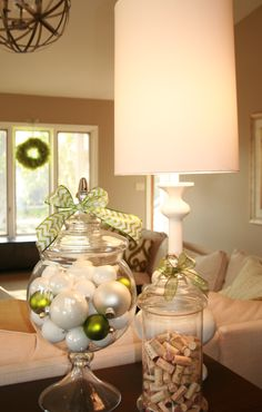 White Christmas, Apothecary Jars, Christmas Decorations
