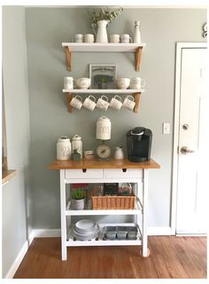 Coffee Bars In Kitchen, Coffee Bar Home, Home Coffee Stations, Coffee Corner, Coffee Shop, Coffee Lovers, Ikea Kitchen, Kitchen Decor, Kitchen Ideas