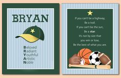 Poems About The Color Green | Set of Name Sports Poem Wall Art Prints for Boys | eBay
