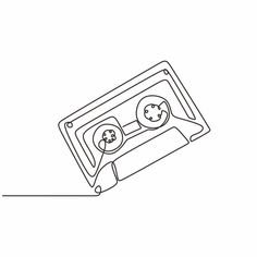 Cassette Tape Ribbon One Continuous Line Drawing Music Instrument Vector and PNG Music Drawings, Cool Art Drawings, Art Sketches, Continuous Line Drawing, Single Line Drawing, Heart Doodle, Doodle Art, Music Doodle, Contour Line