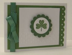 handmade St. Paticks Day card: Polka Dot Shamrock by jpardoe  ... simple design with a great coordinated look in greens and polka dots repeating ... even the background paper has dots ... Hero Arts