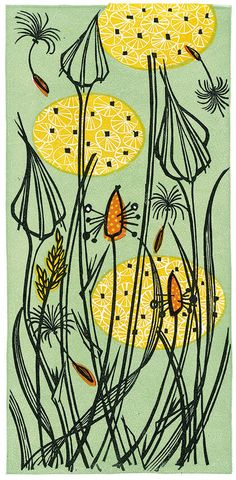Goat's Beard - linocut print by Angie Lewin - printmaker