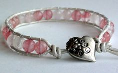 Leather Wrap Bracelet Light Pink Rose Quartz and by TaphiaDesigns, $25.00