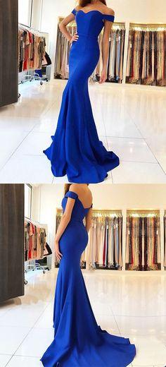 Mermaid Dresses,Off-the-Shoulder Dresses,Royal Blue Prom Dresses,Long Prom Dresses