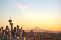 seattle skyline with mt rainier | Seattle Photography Skyline Space Needle Mount Rainier Sunset 4x6 Fine ...