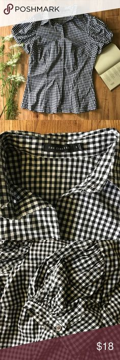 LOFT Gingham Button Down Top A little preppy and a little country all in one. Cute blousey sleeves have buttons. Perfect condition. LOFT Tops Button Down Shirts