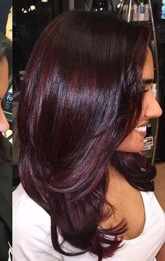 New hair color ideas for brunettes for fall burgundy hairstyles 60 Ideas Hair Color Auburn, Red Hair Color, Hair Color Balayage, Hair Highlights, Purple Hair, Burgundy Highlights, Maroon Hair, Burgundy Hair Colors, Dark Red Hair Burgundy