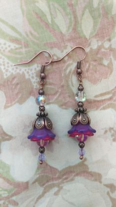 Lucite Flower Earring Boho Lotus Vintage Hanging Dangle Copper Lucite Fairy Tale by TheEnchantress on Etsy