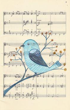 Original Painting / Bird Art / Music Notes / Wall Art / Nursery decor/ Room Decor / Blue Bird via Sheet Music Crafts, Sheet Music Art, Art Wall Kids, Nursery Wall Art, Nursery Decor, Music Artwork, Art Music, Bird Drawings, Music Notes