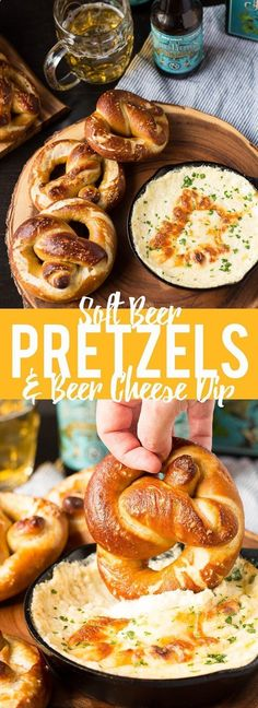 These Soft Beer Pretzels with Beer Cheese Dip are soft and fluffy pretzels with a cheesy dip. Perfect for game day, parties or any time you need a snack. #ad