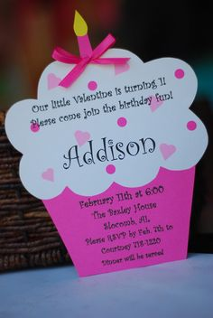Valentine Valentine's Day Cupcake Birthday Invite Invitation Invitations Collection on Etsy, $2.25