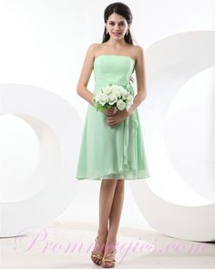 Chiffon Strapless Flower Mint Green Bridesmaid Dresses