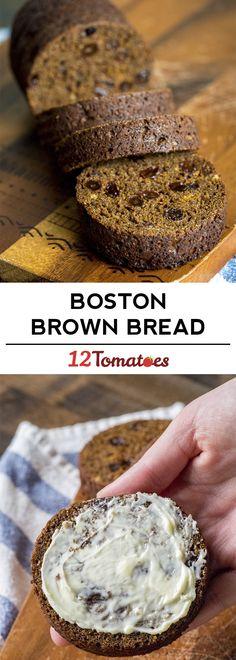 Old-Fashioned Boston Brown Bread?utm_source=12tomatoes Bread Recipes, Snack Recipes, Dessert Recipes, Desserts, Brown Bread Recipe, Bread Winners, Bread Starter, Red Mill, Recipe 4