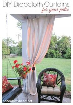 Railing Curtain Rod And 2 Posts Deck Curtains Outdoor