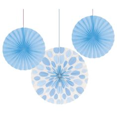 Light Blue Polka Dot Tissue Fan Set (3 ct)