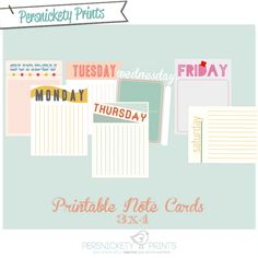 Free 3x4 Weekday Notecard Printables from Persnickety Prints!
