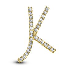 14k Yellow Gold On 925 Sterling Silver Round Cut White Diamond K Initial pendant #adorablejewelry #KInitalPendant