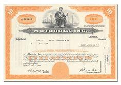 Motorola, Inc. Stock Certificate (Orange)