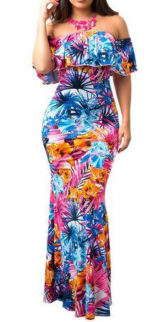 c5d047096b1ea Women s Off Shoulder Ruffle Floral Printed Sexy Bodycon Beach Boho Maxi  Dress - Style 1 - CP18C07GGQR