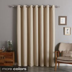 Wide Width Small Basketweave Linen Look Room Darkening Grommet Curtain Panel