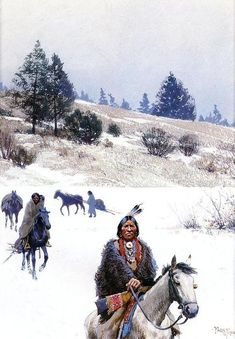 'Indians in Winter - Moving Camp', Painting by Henry F Farny France) kK Native American Music, Native American Paintings, Native American Artists, American Indian Art, Native American History, Indian Paintings, Native American Indians, Abstract Paintings, Art Paintings
