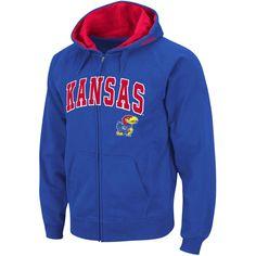 Stadium Athletic Kansas Jayhawks Royal Arch & Logo Full Zip Hoodie