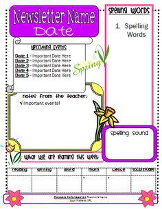 Free printable Spring Newsletter Template // http://gingersnapstreatsforteachers.blogspot.com