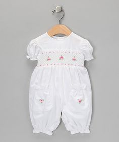 Take a look at this White & Pink Rosette Playsuit - Infant by Fantaisie Kids on #zulily today!