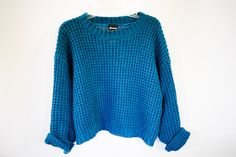 Chunky Knit Blue Sweater// Turquiouse Jumper// 90s by vintagevirtu, $32.00