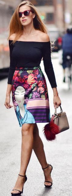 The Secret Stop Print Skirt Fall Streestyle Inspo