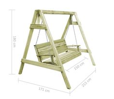 vidaXL Garden Swing Chair FSC Impregnated Pinewood Outdoor Seat for sale online Porch Swing Frame, Diy Swing, Wood Swing, Diy Furniture Plans Wood Projects, Types Of Furniture, Woodworking Projects Diy, Woodworking Classes, Woodworking Bench, Outside Furniture