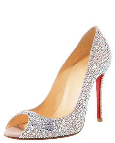 Christian Louboutin Crystal-Encrusted Suede Pump. want.